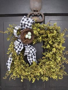 spring wreath with black and white gingham bow