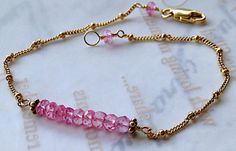 Pink Topaz bar bracelet Camp Sundance minimalist bridesmaid gift new mom, aunt, little girls on Etsy, $48.00