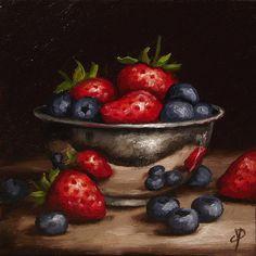 Berries in Silver Bowl Original Oil Painting by JanePalmerArt
