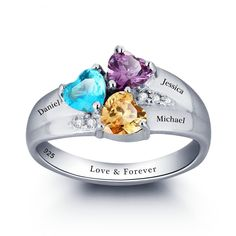 3 Personalized Names & 3 Birthstones Family Promise Rings