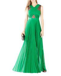 BCBGMAXAZRIA Pleated Crisscross Gown green - Lyst