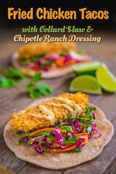 Fried Chicken Tacos...healthy oven-fried chicken tacos with collard slaw and chipotle ranch dressing