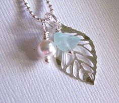 diy jewelry ideas | Seaglass Leaf Necklace
