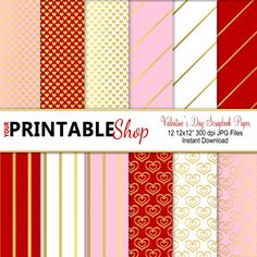 Valentine's Day Scrapbook Paper Digital Paper by YourPrintableShop