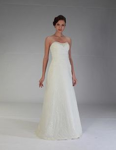 Balletts Bridal - 21565 - Wedding Gown by Venus Bridals - Venus VN6851 - lace/satin informal - strapless beaded/draped bustline/bodice - tie up back