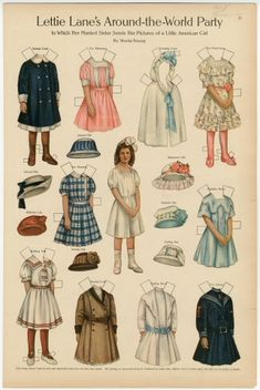 Lettie Lane's Around-the-World Party: Little American Girl  paper doll  1911  Artist:  Sheila Young