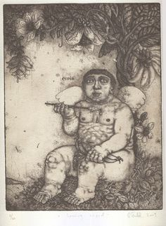 0082 Artist: Oleksiy Fedorenko Title: Loving Cupid Signed and dated: 2009 Technique: Etching Size: x cm / x Make Art, Cupid, Letterpress, Printmaking, Stencils, Etchings, Drawings, Artist, Stamps