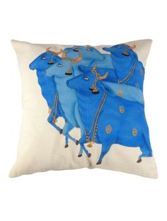 "Kamdhenu Cow Cushion Cover 16"" x 16"""
