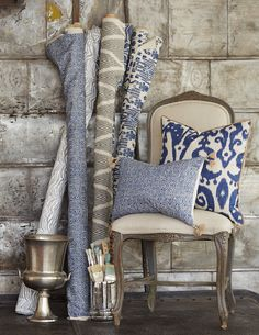 Lacefield Designs Indigo Pillows and Textiles #indigo #interiordesign #textiles #ikat www.lacefielddesigns.com