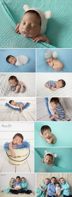 Gorgeous mint, blue and white themed studio newborn photo shoot with 7 day old Matthew. Sunny S-H Photography Winnipeg