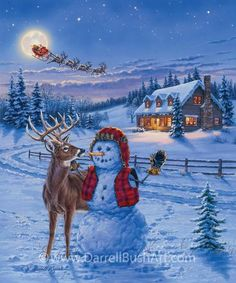 Christmas Eve by Darrell Bush ~ winter snowman ~ buck deer ~ cabin aglow Christmas Scenes, Christmas Past, Outdoor Christmas, Christmas Pictures, Christmas Snowman, Christmas Holidays, Christmas Decorations, Christmas Gifts, Xmas