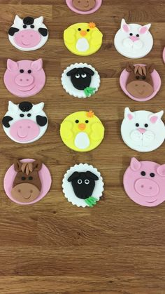 Fondant Farm Animal Cupcake Toppers Sugarpaste Cupcake | Etsy Sheep Cupcakes, Farm Animal Cupcakes, Farm Animal Party, Fondant Cupcake Toppers, Fondant Cookies, Cupcake Cakes, Barnyard Cake, Farm Cake, Cupcake Day