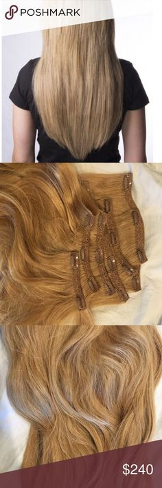 💥Hair Extensions💥 by Luxury for Princess Top quality 100% Remy Human Hair clip in hair extensions made in the Netherlands. 22inches in length, 260 grams of full hair. You can dye (color) and style with heat. Like new, great condition. Worn only a couple times. Includes: 2 large pieces, 3 mid size pieces, & 2 small pieces; Total 7 pieces. Color: Butterscotch Blonde Accessories Hair Accessories