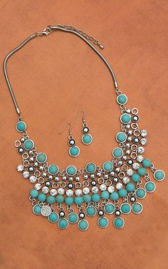 Turquoise & Crystal Beaded Necklace & Earrings Set