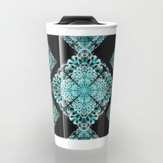 Buy Pattern turquoise and black 1 Travel Mug by Christine baessler. Worldwide shipping available at Society6.com. Just one of millions of high quality products available.