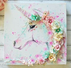 """""""Oh my, this Make It Prima mood board for August is just magical! I absolutely had to play along, my favourite pastel combination for sure. I created a unicorn canvas piece using Watercolor Confections and some Mixed media products. I just adore the mix Unicorn Painting, Unicorn Art, Unicorn Bedroom, Unicorn Rooms, Mermaid Bedroom, Hallo August, Diy And Crafts, Arts And Crafts, Unicorns And Mermaids"""