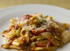 Fresh green lima beans brighten this flavorful summer pasta dish. Pappardelle with Butter Beans and Tomato Ragù