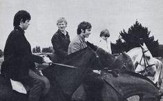 Keith Richards, Charlie Watts Andrew Loog Oldham and Brian Jones having fun on horseback!