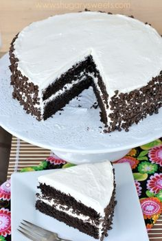 Dark Chocolate Cake with Vanilla Frosting: from scratch, dark chocolate cake!
