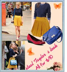 """""""Taylor Swift outfit for $90"""" by kristie-miles on Polyvore-- $90??? Could definitely be done cheaper. Cute look though :)"""