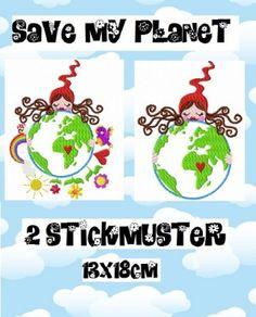 ♥SAVE my PLANET♥ Milli Zwergenschön STICKMUSTER Einzelmotiv 13x18cm