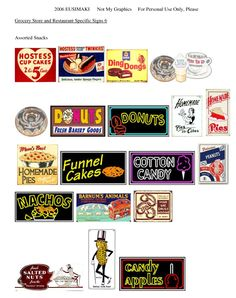 Grocery and Restaurant Signs - Website devoted to 1/12th scale miniature dollhouse printables (printies)!