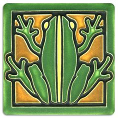 """Motawi Tileworks is based in Ann Arbor, Michigan where they design and make all of their ceramic tiles by hand. They can be hung on the wall, displayed on a stand, or used as the focal point in your next tile project.  size: 3-13/16"""" square size with frame: 7-1/2"""" square tiles are 5/8"""" thick and have a notch at the back for hanging."""