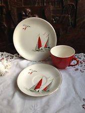 Vintage Alfred Meakin Plate Red Sails Large Assortment Pottery, Porcelain & Glass Alfred Meakin