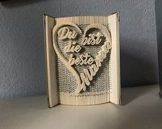 Gefaltetes   Etsy Valentines Day Birthday, Book Folding, Easter Gift, Book Gifts, Own Home, Love Heart, Wedding Engagement, Personalized Gifts, Books