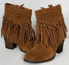 SBICCA Vintage Collection Taupe Suede Leather Fringe Ankle Boots Womens Size 6 #Sbicca #AnkleFringe Leather Fringe, Suede Leather, Leather Boots, Fringe Ankle Boots, Taupe, Accessories, Vintage, Collection, Shoes