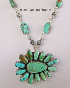 Federico signed turquoise large cluster pendant pin  | Schaef Designs New Mexico