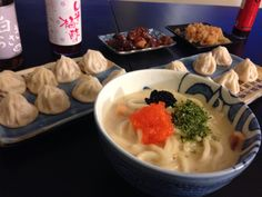 Xiaolongbao, Creamy Salmon Udon, Jelly Fish, and Chicken