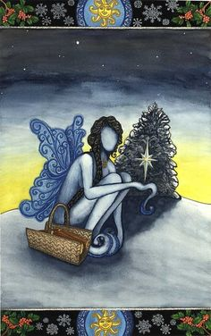 My favourite artist for Wiccan/Pagan cards - The Wheel of the Year  Yule original by EarthStarStudios on Etsy, $15.00