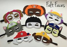 SET OF 8 Paw Patrol Party Masks Paw Patrol Birthday by KSFeltFaces