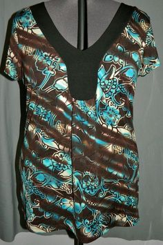 Top JUDITH Black Turquoise White Brown Short Sleeve v neck Stretch Plus Sz 1X #Judith #KnitTop #Career