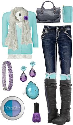"""""""Baby Blue and Purple"""" by crzrdnk77 on Polyvore"""