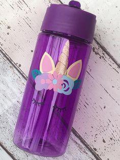 Unicornio personalizado niños Mini botella de agua. Regreso a