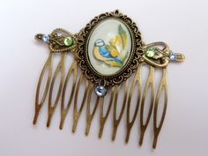 Spring hair comb in bronze with beautiful bird motif, antique hair comb, animal Hair comb, Scene hair comb, hair accessories LARP - pinned by pin4etsy.com