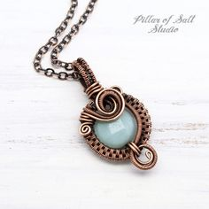 Wire wrapped pendants and necklaces by Pillar of Salt Studio Copper Necklace, Copper Jewelry, Pendant Jewelry, Pendant Necklace, Wire Jewelry, Teardrop Necklace, Cameo Jewelry, Gold Pendant, Beaded Jewelry