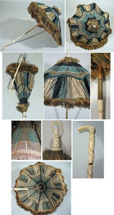 Victorian 1850s - 1860s Bone Handle Carriage Parasol in Green and Tan Plaid