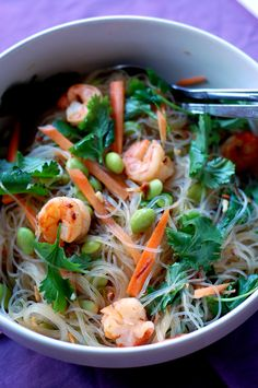 Mung Bean Noodles Salad (aka Bean Thread Noodles) with shrimp, edamame, carrots, chiles, and cilatro ... great #healthy #lunch idea