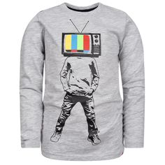 Don't touch that dial! Pay tribute to the bunny ears and analog days of yore in this super soft crew neck long sleeve graphic tee. Swag Outfits, New Outfits, Kids Outfits, Mod Suits, Graphic Tees, Graphic Sweatshirt, Stylish Boys, Boys Shirts, Boy Fashion