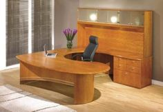 A unique blend of curved lines and soft lines. The Allegro cockpit desk can be made in any wood with different cupboard and wall unit options, including downlighting in the rear cupboards L Desk, Curved Lines, Downlights, Office Furniture, Layout Design, Corner Desk, Home Goods, I Am Awesome, Home And Garden