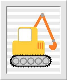 Baby Boy Nursery Art Dump Truck Bulldozer Tractor Construction Truck Toddler Boy…
