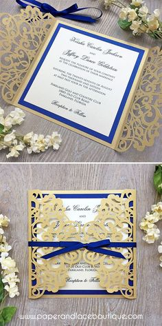 Laser Cut Wedding Invitation - Metallic Gold Gatefold with Royal Blue Accent Layer and Ribbon Bow