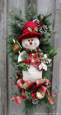 Christmas Wreath, Holiday Wreath, Christmas Swag, Designer Teardrop, Snowman Wreath, Whimsical Christmas