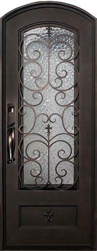 38x98 Fleur-De-Lis Iron Prehung Door Unit