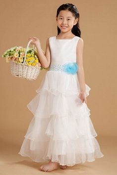 Sexy White Organza Flower Girl Dress - Order Link: http://www.theweddingdresses.com/sexy-white-organza-flower-girl-dress-twdn1134.html - Embellishments: Beading , Flower , Sequin , Tiered; Length: Floor Length; Fabric: Organza; Waist: Natural - Price: 68.18USD