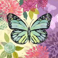 Butterfly Flight Violet by Jennifer Brinley Butterfly Crafts, Butterfly Art, Kitsch, Stitch Games, Butterfly Pictures, Dragonfly Art, Butterfly Wallpaper, Decoupage Paper, Vintage Labels