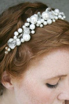 Pearl tiara with chandelier crystals simple